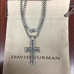 David Yurman Chevron Petite Cross Pendant Necklace
